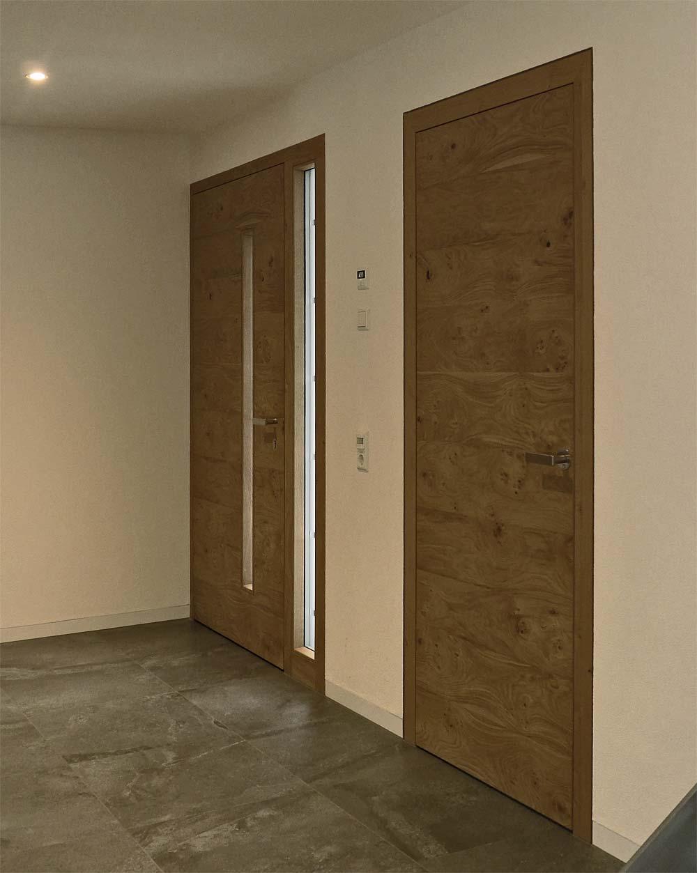 """Haus- und Zimmertüre wandbündig in Eiche. Zimmertüre mit """"Soft-close"""","""