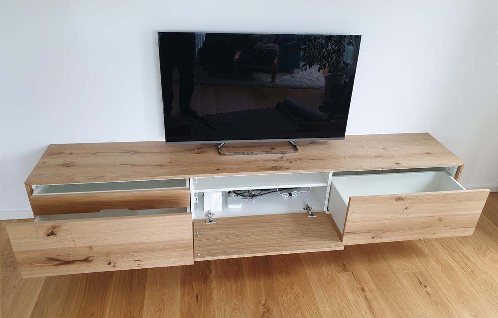 TV Lowboard hängend Eiche Echtholz